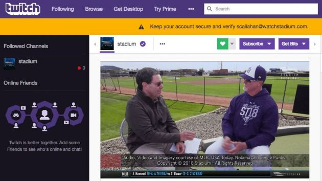 Twitch adds Stadium's traditional sports broadcasts to platform